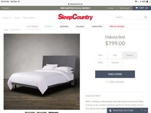 Dakota bed size Queen with mattress from sleep country
