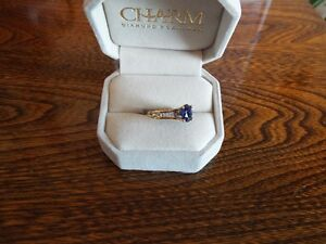 Round Created Blue Sapphire and diamond yellow gold ring