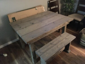 Custom built rustic table with benches