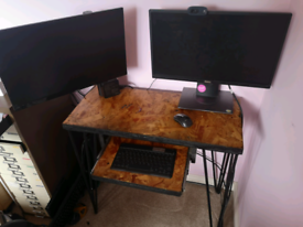 Industrial style computer desk with hairpin legs