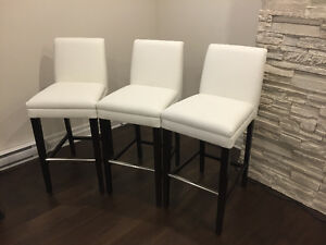 3 White Bar Stools - never used