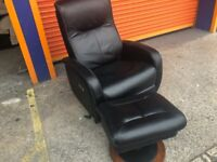 LAZ-Boy leather reclining swivel chair and storage foot stool ex display model