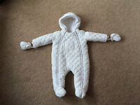 Mamas and Papas white quilted snowsuit 9 - 12 months