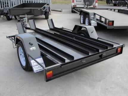 7x4 Motor Bike Trailer - 3 Bike Carrier - Checker Plate Floor