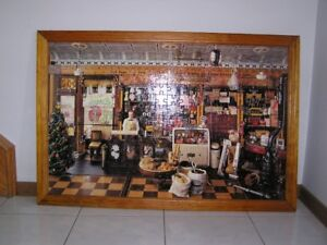 OLD FASHION GROCERY STORE PUZZLE PICTURE IN FRAME