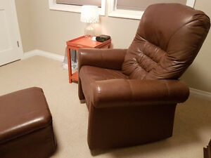 Leather Reclining Rocking Chair & stool