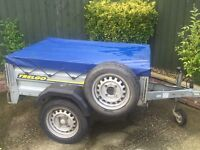 """Larger Trelgo tipping trailer + cover + spare wheel 13"""" wheels"""