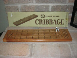 Vintage 3 Player Cribbage Game