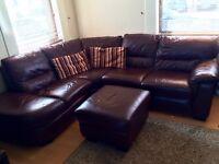 Brown Leather Corner Sofa - sold pending pickup