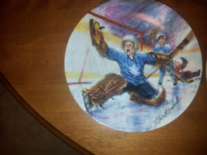 "8 Dominion China Hockey Plates""HE SHOOTS HE SCORES SERIES"""