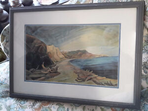 1936 PRINT  OF EMILY CARR SHORELINE  FRAME WITH DOCUMENTS