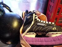 BAUER SIZE 5 Men's used skates with helmet and blade protectors