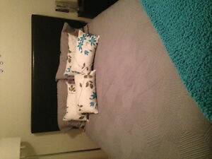 Double bed with head board mattress box soring