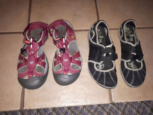 Keen (8) and Merrell (7.5) sandal/water shoes.