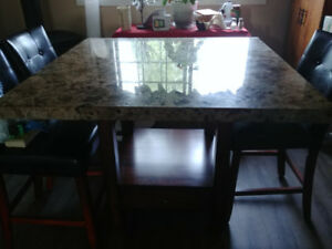 Granite top Bar height dining room set with 6 chairs
