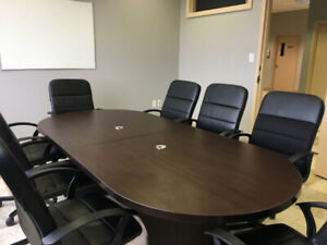 NEARLY NEW BOARD ROOM TABLE FOR SALE WITH 8 CHAIRS