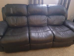 Dark brown coach and love seat faux leather