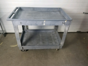 "Rubbermaid Flat handle gray utility cart 40"" x 25.5"" x 32.5"""