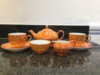 """Tea for Two"". Orange Lustre Czechoslovokia china"