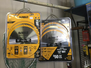 10 and 12 in dewalt saw blades