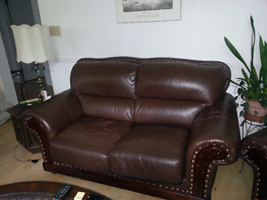 Leather Loveseat and Matching Chair