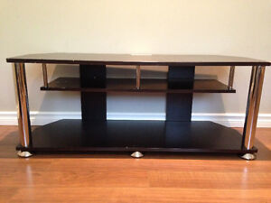 Espresso Wooden TV Stand with Metal Legs