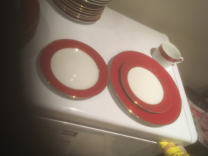 Gold rimmed Dishes Red Neutral Style 48 pieces total