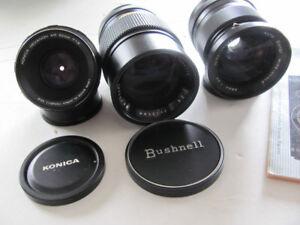 3 lens for Konica Autoreflex TC film camera 28mm 52mm 135mm