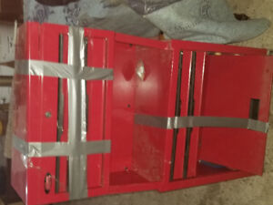 Red tool chest - duct tape can be safely removed