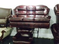 As new oxblood 3 and 1 leather sofa set
