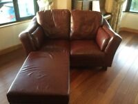 Leather sofa and ottoman