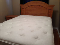 Bedroom Set with Queen size Serta Mattress and 2 side tables