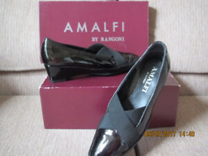 Amalfi Black Patent Wedge Shoes