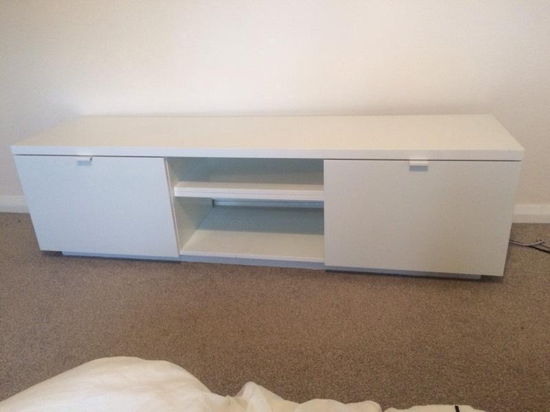 White Ikea Byas Tv Bench In Perfect Condition In St