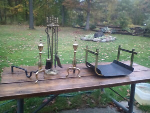 8 piece brass fireplace set