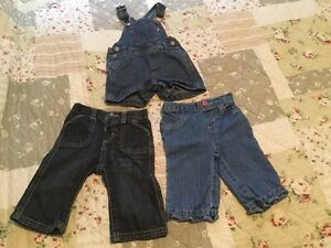 0-3 and 3-6 month Overalls and Jeans- 5 pieces total London Ontario image 2
