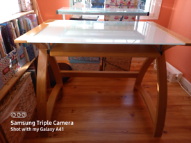 Wooden Desk With Glass Top