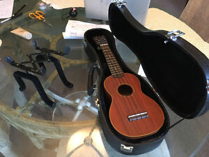 Ukulele, case and stand for sale