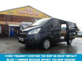 2013 63 FORD TRANSIT CUSTOM 2.2 290 LIMITED LR P/V 1D 155 BHP 1 OWNER IN DARK IN