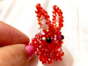 Swarovski beaded red rabbit handmade