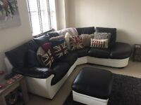 DFS Black and white leather corner sofa