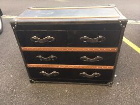 Black Steamer Trunk Style Chest of (six) Drawers