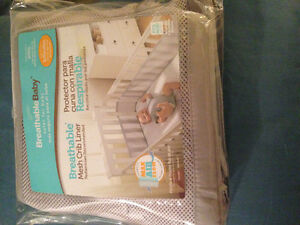 Breathable mesh grey bumper pads for crib