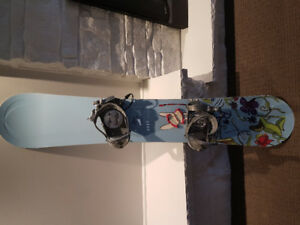 Snowboard, bindings, Salomon boots