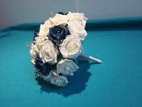 Dark teal and ivory bridal bouquet