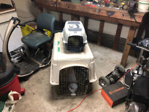 2 Dog Kennels And 1 Small Dog Booster Seat