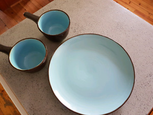 Quarry Blue soup bowls and serving tray