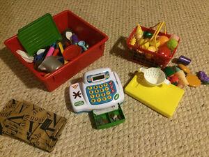 For the little shopper - cash register, food, utensils