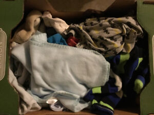 Box of assorted baby clothes (newborn to 18 months)