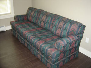 Matching fabric Bench made sofa and matching chair - For Sale